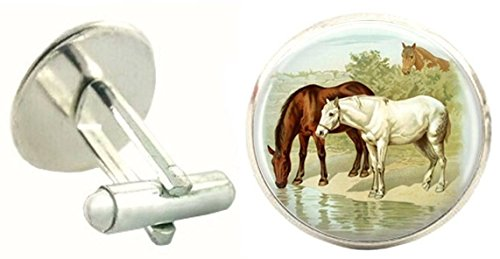 Horses Brown Bassin Cufflinks Brown and White Mens 4zZOq