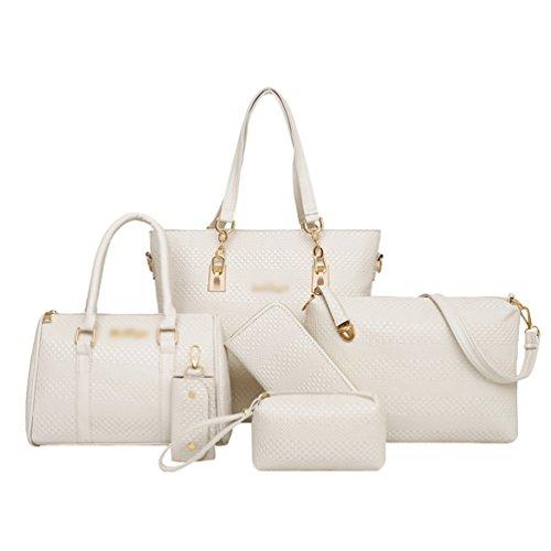 5 a Portafoglio Elegante Mano Bianca Pezzi Tracolla Anguang Shopping a Borse Partito Donna Borsa Pochette gSFq115Pw