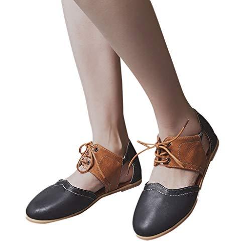 Rond Rome Couleur Plates Creux Simples Sandaleschaussures Bout Plates Tête Sandales Noir Chaussures Ronde Romaines Pour Femmes Lacets Shoes Contrastante À Femmes Hit SwEW5Engq