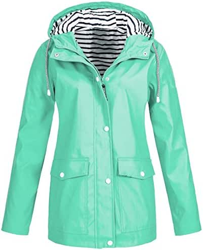Baiggooswt Women's Solid Sports Rain Jacket Outdoor Solid Color Plus Waterproof Hooded Pocket Zipper Raincoat Windproof