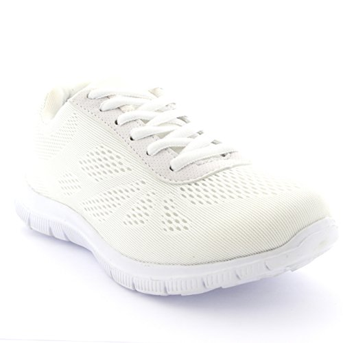 Womens Get Fit Mesh Running Gym Shoes Trainers Athletic Walk Sport Run - White - 8