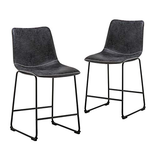 YEEFY Centiar Counter Height Dining Chairs Mid Century Modern Style Black Metal Base Brown Faux Leather Bucket Seat Set of 2 Charcoal