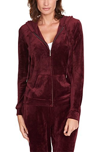 (Gloria Vanderbilt Ladies' Velour Hooded Jackets for Women ~ X-Small - PlusSizes (X-Small, Red))