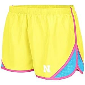 Nebraska Cornhuskers Ladies Neon Yellow Flip Shorts:XL