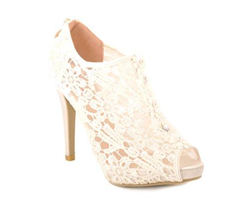 Blanc Casse Dentelle Talon Heuts Peep-Toe Chaussures de Mariage