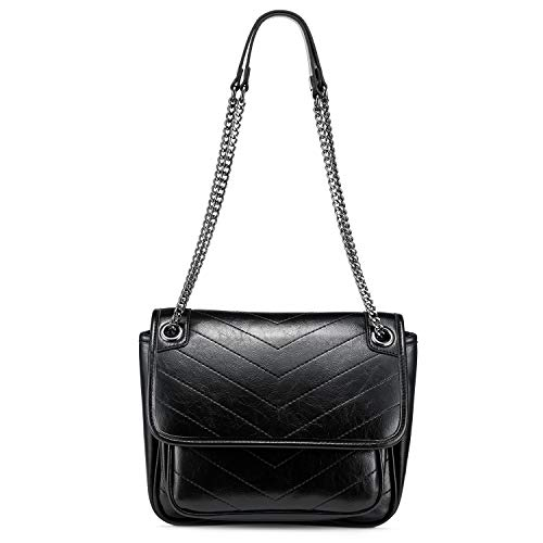 Realer Crossbody Bags for Women Shoulder Bag Quilted Purse Over The Shoulder Purse with Adjustable Metal Chain Strap Black