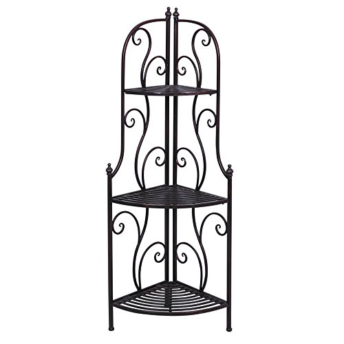 "Expressly HUBERT Antique Bronze Metal Scrolled Corner Rack - 19""L x 13""W x 46""H"