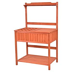 Table Bench Wood Potting Work Station Garden Patio Deck Outdoor Planting