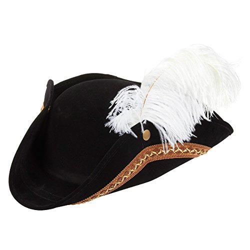 17 Century Costumes (Tricorn Pirate Hat - Fun Party Pirate Costume Colonial Hat 17 x 13 x 3.5 Inches)