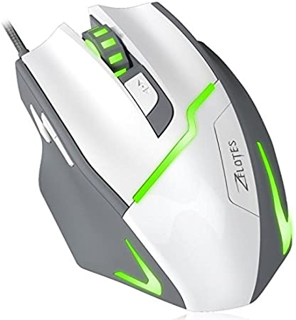 Cywulin 7 Button 7200DPI 7 Adjustable Level Breathing LED Backlights Optical Wired Professional Ergonomic Gaming Mouse Mice for PC,Laptop Notebook Tablet Desktop White