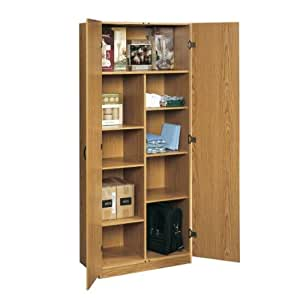 Oak Home Or Office Storage Cabinet Organizer