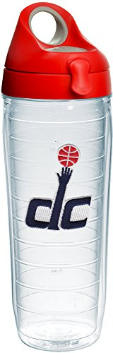 Tervis 1231070 NBA Washington Wizards Secondary Logo Tumbler with Emblem and Red with Gray Lid 24oz Water Bottle, Clear by Tervis