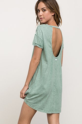 RVCA Women's Topped Off Tee Shirt Dress, Olive Moss, L - Wash Polyester Dress