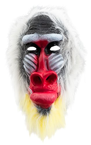 (Loftus International Halloween Baboon Animal Costume Full Head Mask White Red Black One Size Novelty)