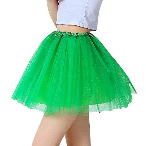 Chen Rui (TM))) Adulte Femmes lastique Pliss Jupe Courte Tutu Tulle Princess Jupon Mini Robe Ballet Danse Ballerine Vert