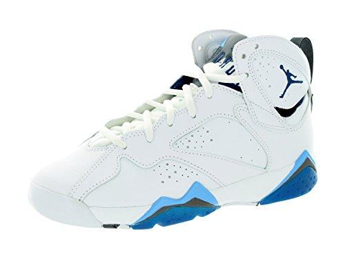Jordan Nike Kids Air 7 Retro BG Wht/Frnch Bl/Unvrsty Bl/Flnt G Basketball Shoe 4 Kids US by Jordan
