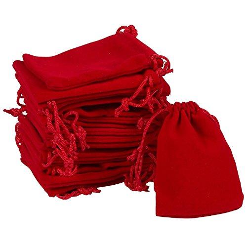 - Fashewelry 100 Pack Red Drawstring Velvet Bags 2.76x3.54