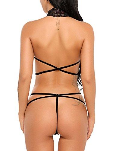 Avidlove Women Deep V Halter Lingerie Teddy One Piece Bodysuit Lace Babydoll Black M