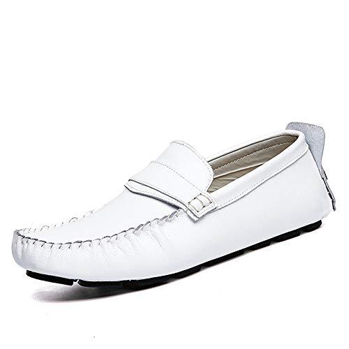 da Uomo Mocassini EU vera Xiaojuan Pelle uomo Dimensione Scarpe e 43 Color shoes casual in pelle barca da traspiranti Nero Bianca mocassini confortevoli 5Z77t1qwrx