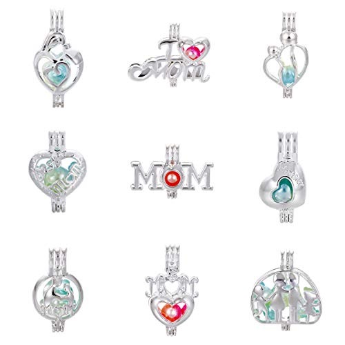 Mixed 9pcs Mother Heart Silver Pearl Cage Beads Cage Locket Pendants DIY Necklace Bracelet Jewelry Making Supplies-for Oyster Pearls, Essential Oil Diffuser, Fun Gifts (Mother's Day) -