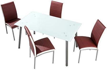 cmc Conjunto de Comedor 4 sillas tapizado Burdeos Amelia y Mesa ...