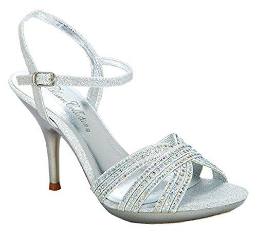 Collezione De Blossom Sanyo-202 Strappy Glitter Bling Strass Tacco A Spillo Piattaforma Sandalo Argento -1