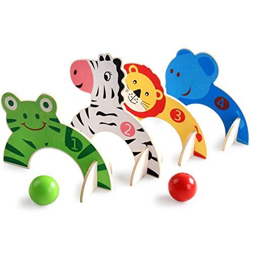 Turxie - 高品質子供のギフトのためのおかしい屋外玩具赤ちゃんのゴルフ玩具漫画ウッドクロッケーゲーム動物門ボールのおもちゃ子供の家族ゲームスポーツ玩具 [1] B07KWTF5R6 1