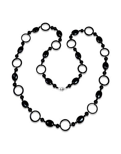 MGR MY GEMS ROCK! Beaded Good Karma Circulation Black Onyx Long Necklace, 40