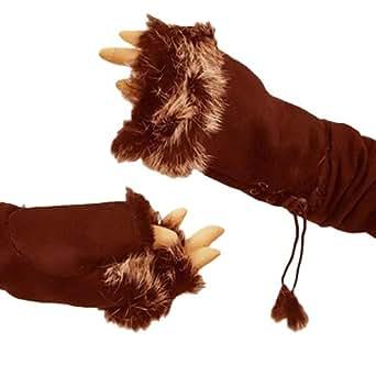 Brown Faux Fur Trim Ladies Fingerless Gloves