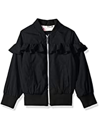 Girls' Nylon Bomber With Ruffle