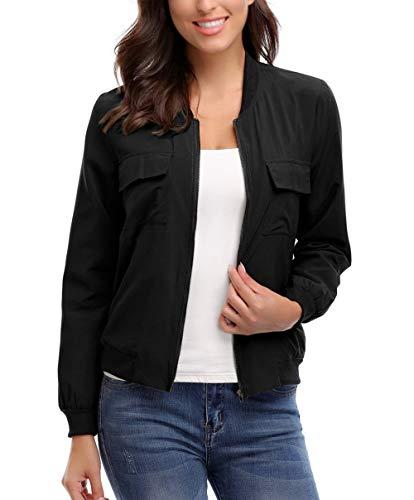 MISS MOLY Bomber Jacket Women Lightweight Zip up Long Sleeve Scrub Jackets with Pockets Black-Medium ()
