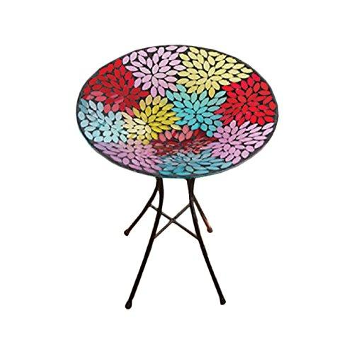 Prismatic Petal Multicolor 13 Inch Glass Indoor Outdoor Birdbath