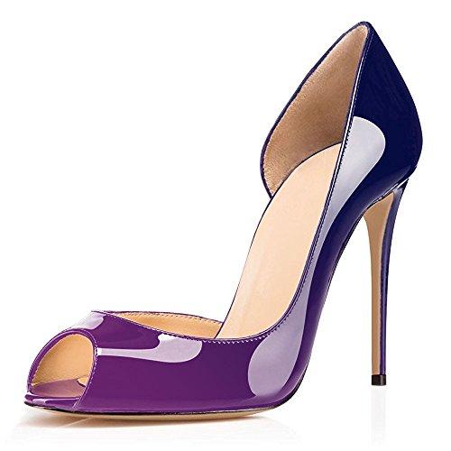 Heel Damen Toe Schuhe und Slip uBeauty Hochzeit Pumps Blau High Pfennigabsatz Peep On Lila Sandalen für D'Orsay Schuhe pw1dYgqEn