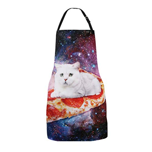 Zeronal Funny Baking Apron Pizza Cat Space Novelty Cooking Chef Gift for Men Women Baking Gift Full BBQ Grilling Kitchen Apron product image
