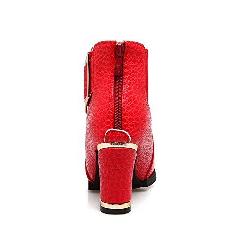 Balamasa Womens Enkellaags Metalen Gespen Rits Microfiber Laarzen Abl10558 Rood