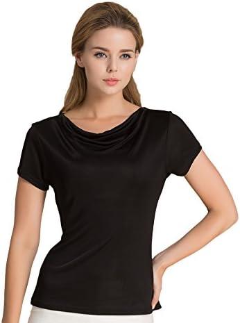 Tulpen damski jedwabny T-shirt podkoszulek z krÓtkim rękawem: Odzież