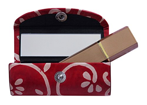 The StoreKing Gifts Ideas Leather Lipstick Case Holder - Organizer Bag for Purse- Lipstick Holder- Durable Soft Leather -Cosmetic Storage Kit with Mirror (Red & White)