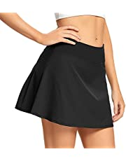 Women's Casual Pleated Golf Skirt Underneath Shorts Running Tennis Skorts