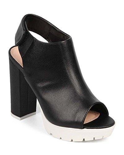Liliana DF57 Women Leatherette Peep Toe Block Heel Velcro Slingback Bootie - Black