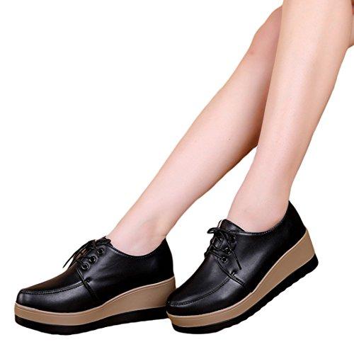 iFang - Zapatos de cordones para mujer negro negro negro