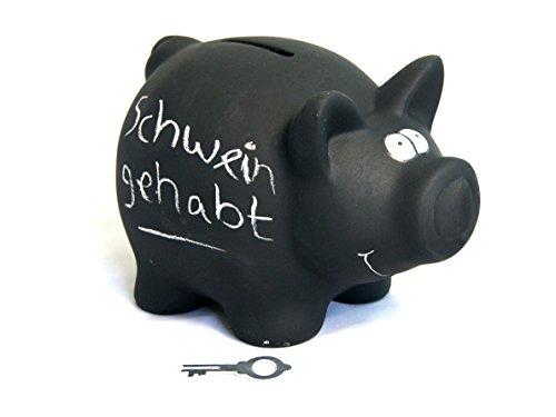 großes schwarzes XL-Sparschwein aus Keramik zum Bemalen und Beschriften mit Kreide - mit Kreidetafel - Spardose Sparbüchse Klein-Geld-Schwarzgeld-Trinkgeld-Schwein - Größe: 16cm