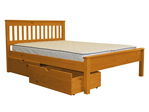 Mission Style 2 Drawer (Bedz King Mission Style Full Bed with 2 Under Bed Drawers, Honey)
