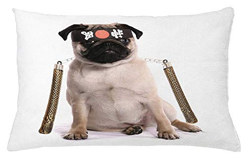 Ustcyla Pug Throw Pillow Cushion Cover, Ninja Puppy with Nunchuk Karate Dog Eastern Warrior Inspired Costume Pug Image, Decorative Square Accent Pillow Case, 18 X 18 inches, Cream Black Gold]()