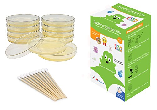 EZ BioResearch Bacteria Science Kit (IV) (Gift Pack): Prepoured LB-Agar Plates And Cotton Swabs. Exclusive Free Science Fair Project E-Book Packed With Award Winning Experiments. (IV Gift ()