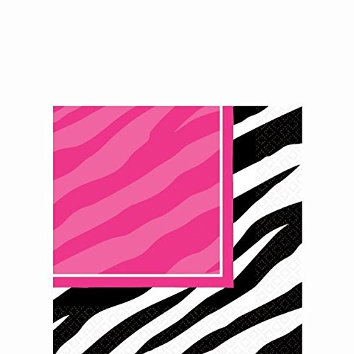 Pink and Zebra Print Beverage Napkins Party Tableware Supply (16 Pack), Multi Color, 5