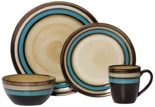 Gourmet Basic by Mikasa Spector Blue 16-Piece Dinnerware Set, Service for 4