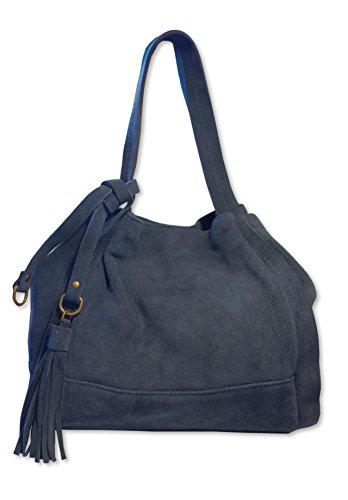 Handbag In H Made D Leather Borsalinda X Posh Womens Suede Blue Gear 30x25x25 Italy w Eq70g