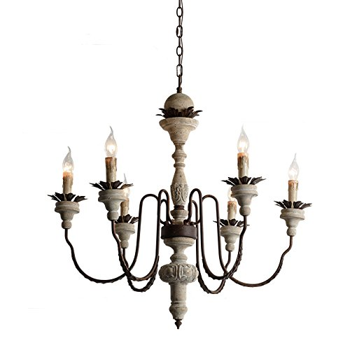 Carved Wood Accents - KunMai French Carved Wood Rust Metal Chandelier Leaf Accents Rustic Ceiling Light with Candelabra Lights (6-Light)