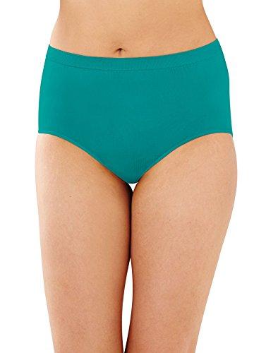 Price comparison product image Bali Women's Comfort Revolution Seamless Hi-Cut Brief Panty,  Vivid Teal / White / Coral Pure,  11