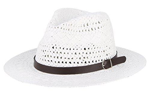 Fedora Straw Hat Men Women Flat Summer Sun Hat Sun Protection with Band (White) (Prada Woven Band)